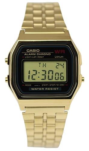 Oro Oro Negro Negro Reloj Casio A-159Wgea - 1D estándar Digital Hombres: Amazon.es: Relojes