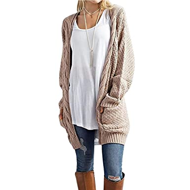 Womens Sweaters Cardigans Open Front Sweaters With Pockets Long