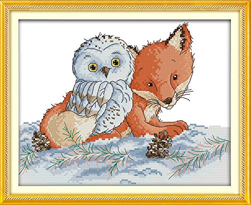 - CaptainCrafts Hots DIY Art Cross Stitch Kits Needlecrafts Patterns Counted Embroidery Kit - Little Fox and Owl (STAMPED)