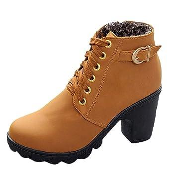 Minetom Mujeres Otoño Invierno Botines Chelsea Moda Tacón Alto Tobillo Botas Señoras Hebilla Plataforma Color Sólido Zapatos: Amazon.es: Ropa y accesorios
