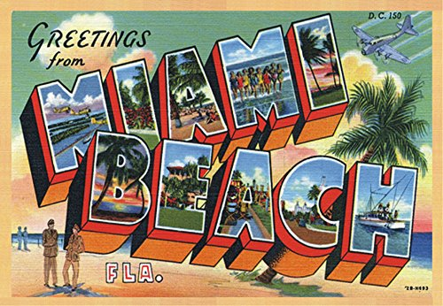 Greetings from Miami Beach Florida, FL, Souvenir Magnet 2 x 3 Fridge Photo - Pictures Miami Airport Of
