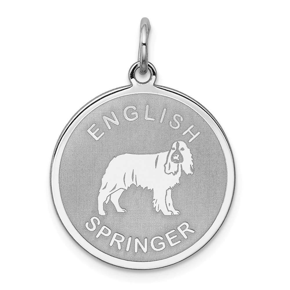Sterling Silver Laser Etched English Springer Dog Pendant 19mm