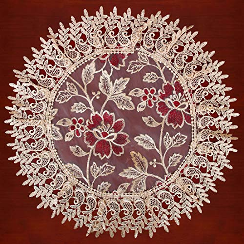 Grelucgo Beige Lace Table Doilies and Placemats Round 18 Inches Set of 4 ()