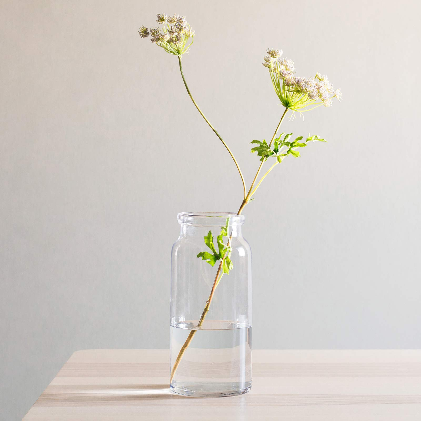 CASAMOTION Vases Hand Blown Art Glass Vase, Centerpiece Vases for Table, Clear, 12''