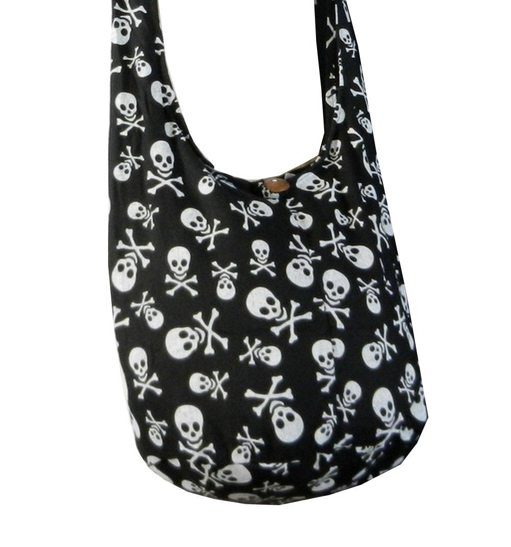 BTP! Skull Punk Rock Hippie Hobo Thai Cotton Sling Crossbody Bag Messenger Purse Small in Black SKS3