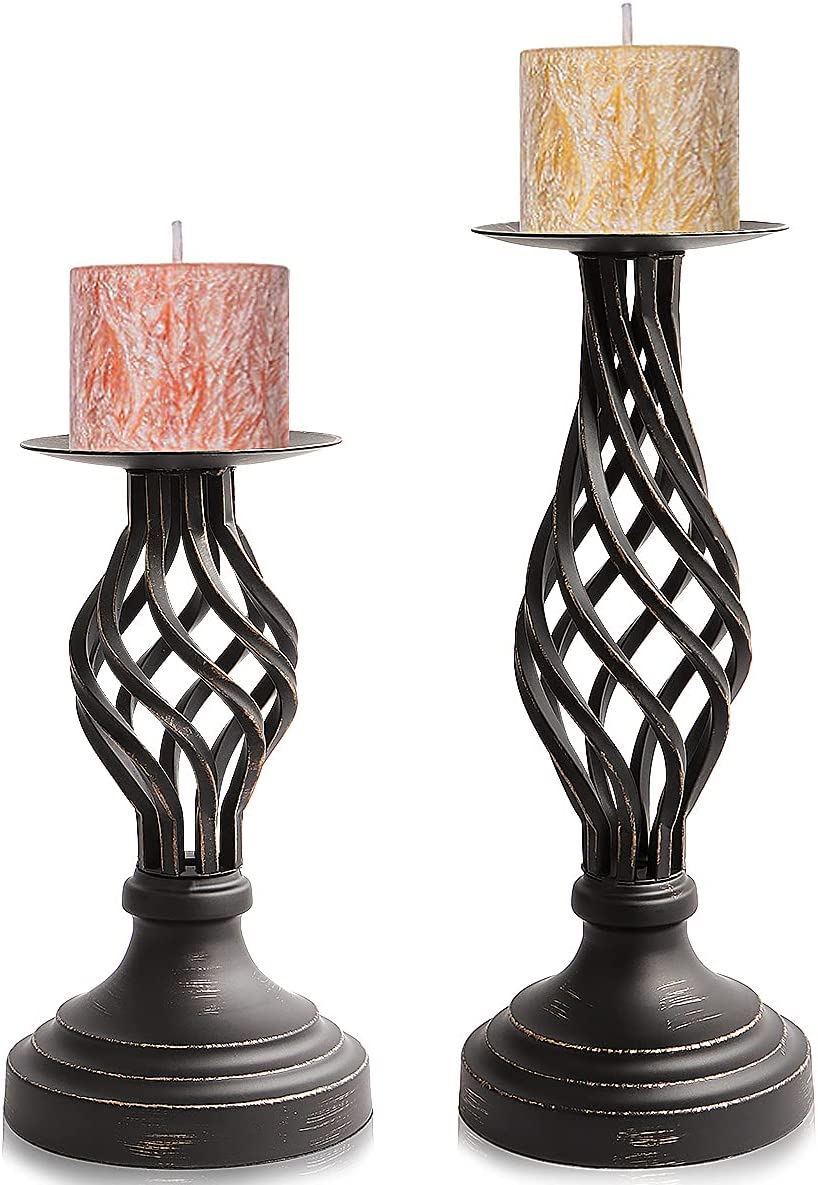 NAVOROGE Handmade Candle Holders for Pillar Candles Holder for Wedding,Dinning,Home Decor,Retro Iron Candlestick Holders,Christian Worship Black Candle Holder Set of 2