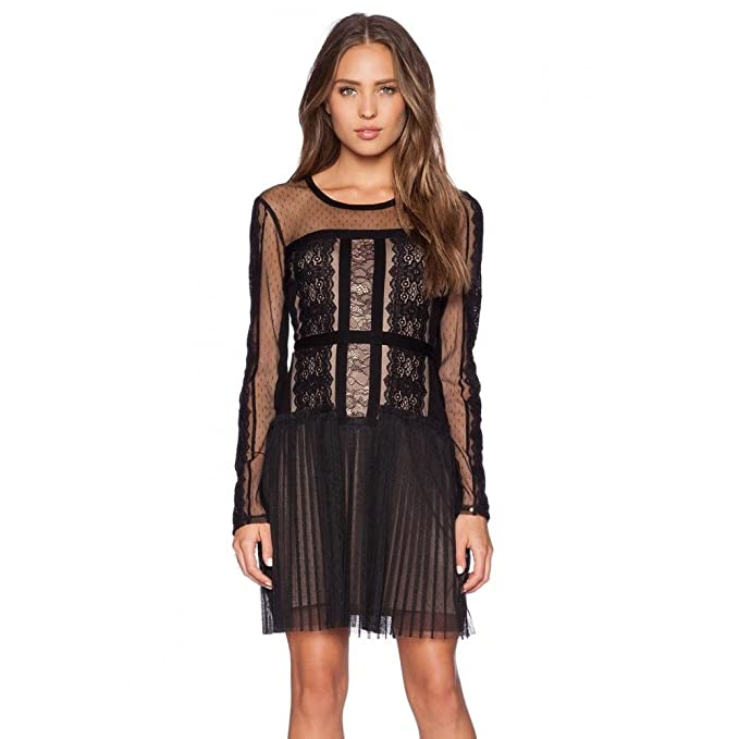 41dd578d7a5b BCBGMAXAZRIA BCBG Maxazria Stef Lace-Blocked Long Sleeve Dress  UEX67D94-001: Amazon.ca: Clothing & Accessories