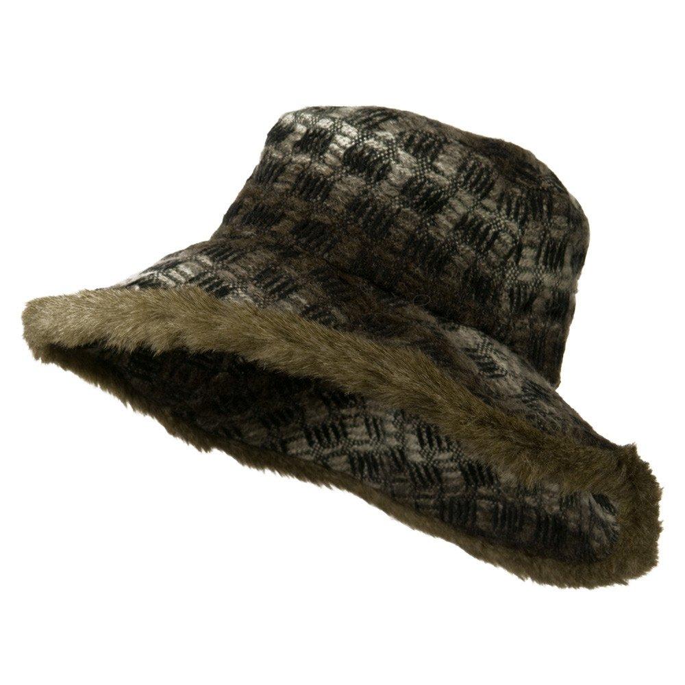 Lady's Brown Faux Fur Trim Hat - Brown OSFM