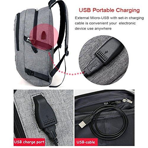 Business Laptop Rucksack Backpack, 15.6 Inch Notebook Schulrucksack Computer Rucksäcke für Herren und Damen mit Anti-theft, USB Charging Port und Headphone Port Lila