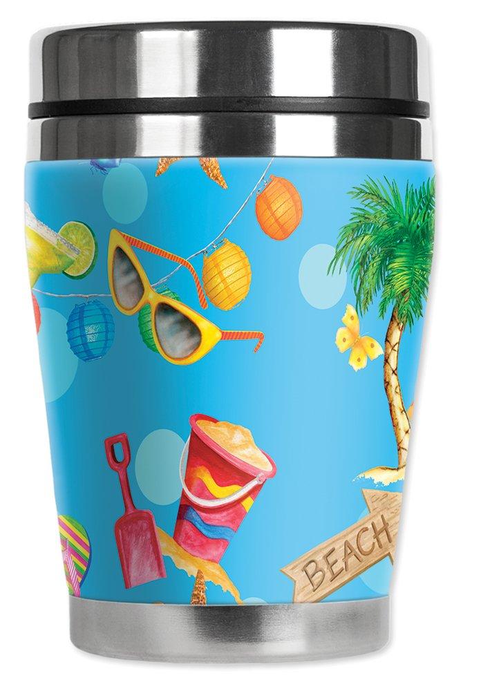 Mugzie brand 10-Ounce Mini Travel Mug with Insulated Wetsuit Cover Beach Toss