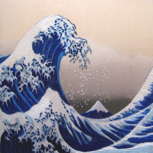 King Silk Art 100 Handmade Embroidery The Great Wave Off