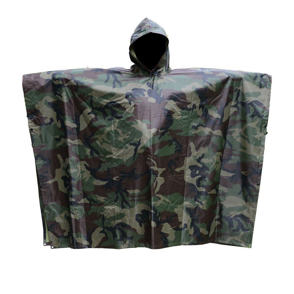 JTENG Rain Poncho Waterproof Ripstop Hooded US PVC Camouflage Rain Coat (with 12'' x 9'' camo Zipper Bag), Camo, One Size… by JTENG