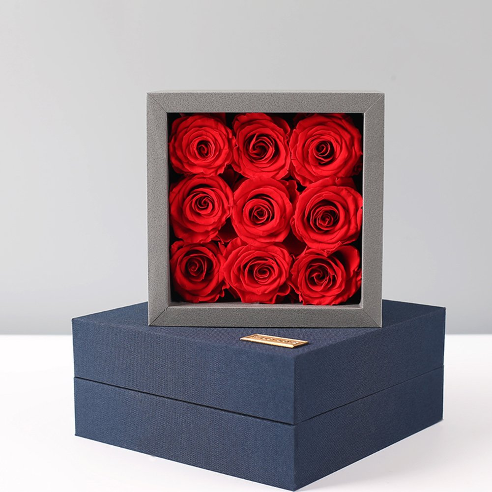 Immortal flowers roses gift box,Flowers Artificial flowers Christmas day Send to your girl friend Wife-red 15x15x9.5cm(6x6x4inch)