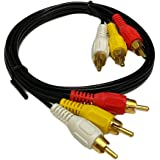3FT RCA M/Mx3 Audio/Video Cable Gold Plated - Audio Video RCA Stereo Cable 3ft