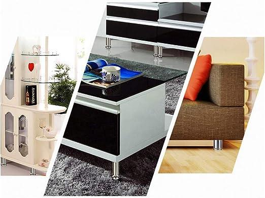 4 un Pied carr/é pour meuble en acier 25x25mm Hauteur 100mm chrom/é avec r/égulateur niveleur de 15-25mm