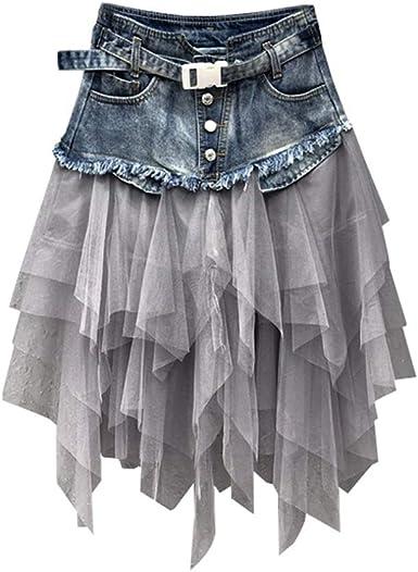 YM YOUMU Mujer Falda de Empalme de Malla Vaquera Cintura Alta A-Line Asimétrico Tul Volante Vestido Gótico