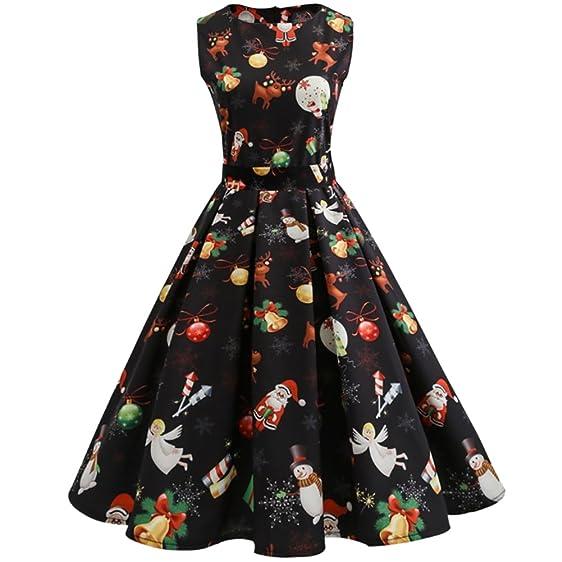 iBaste Women's Christmas Pattern Slim Fit Retro Sleeveless Dress ...