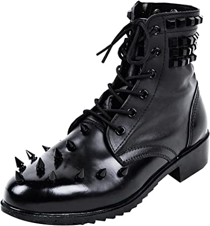 Black Metal Studded Real Leather Boots