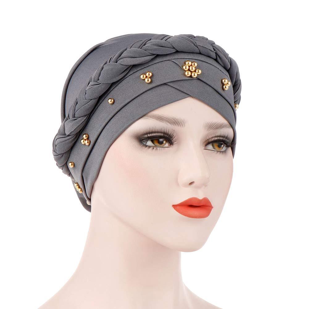 BrawljRORty Muslim Scarf Wraps - Solid Color Braid Beads Decor Women Muslim Hijab Turban Head Scarf Cap Hat by BrawljRORty (Image #10)