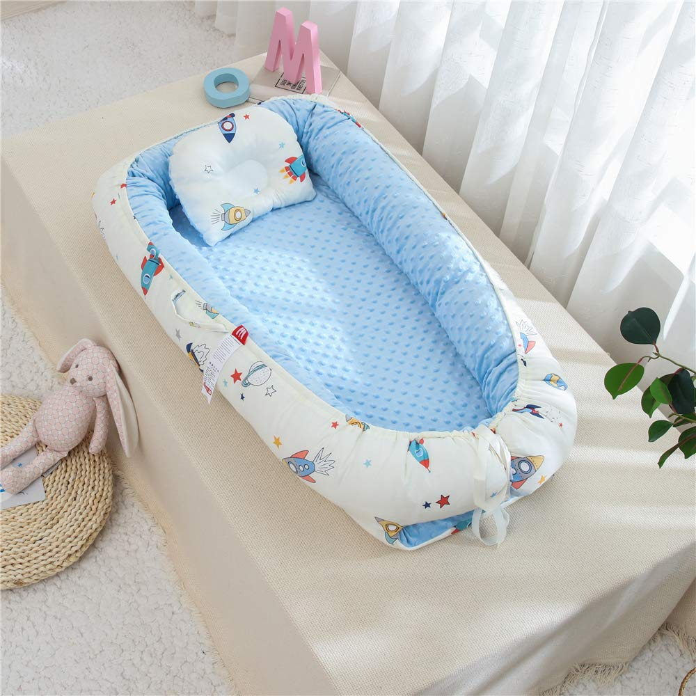 Ocean Animal Theme Navy Baby Newborn Lounger,Double-Sided Babynest,Breathable Baby Bassinets for Bed Portable Crib Bed Pretect for Co Sleeping 100/% Cotton Brandream Baby Nest Bed Whale