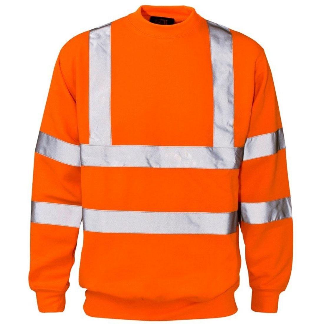 Mens Long Sleeve Hi Vis Sweatshirt with Ribbed Hem Neck Adults Work Wear Top Orange Large