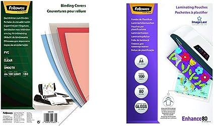 Fellowes Portadas para encuadernar de PVC transparente, formato A4, 180 micras, pack de 100 + 53061 Pack de 100 fundas para plastificar, brillo, formato A4, 80 micras: Amazon.es: Oficina y papelería
