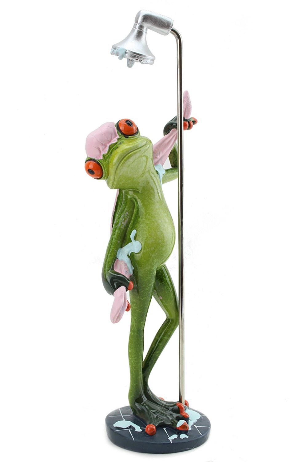 We pay your sales tax Novelty Funny Frog Figurine Relaxing Statue for Home Decor (Taking a Shower)