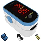 CHOICEMMED Sky Blue Finger Pulse Oximeter - Blood Oxygen Saturation Monitor - SPO2 Pulse Oximeter - Portable Oxygen…