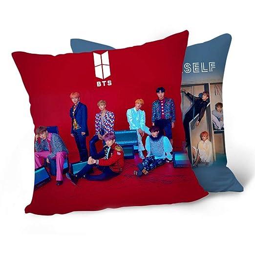 Skisneostype BTS - Funda de cojín para sofá de 40 x 40 cm, Ideal para decoración del hogar, Coche, Oficina, Viajes, Escuela, etc.