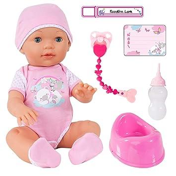 94209AA Bayer Design - Muñeca interactiva, Piccolina Love con Accesorios, Muñeco Bebé, 42cm, Color Rosa