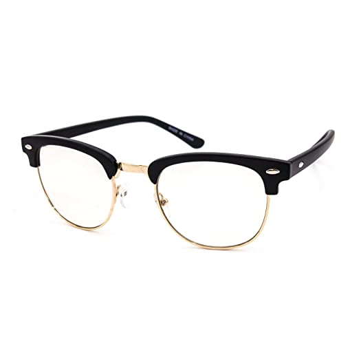 c94f9a57273 Vintage Inspired Half Frame Wayfarers Clear Lens EYE GLASSES Malcolm Frame  color (Black