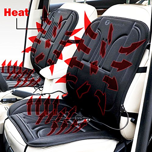 Zone Tech Car Heated Seat Cover Cushion Hot Warmer - 2-Pack 12V Heating Warmer Pad Cover Perfect for Cold Weather and Winter Driving (Plug Seat)