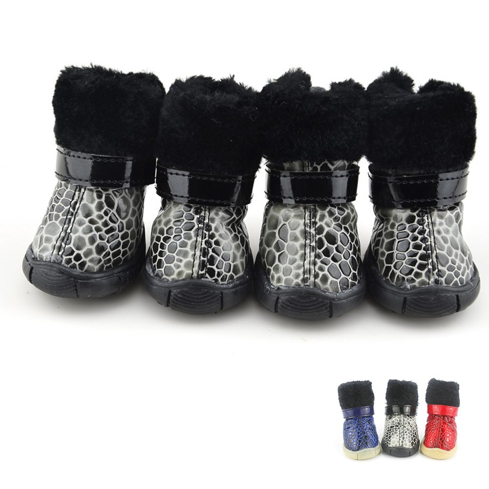 Black 1 Black 1 Dog shoes Booties Waterproof Anti-Slip Paw Predectors Suit for Winter Fall Red bluee Black