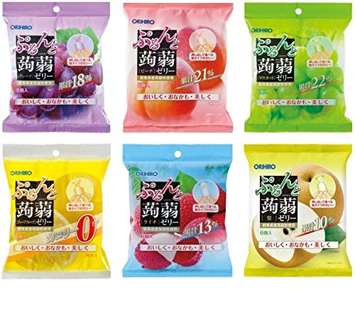 Orihiro Puru do and konjac jelly latest popular set of 6 (Grape Peach Muscat Litchi pineapple-calorie grapefruit) or each 20gx6 (total of 6bags, 36pieces)