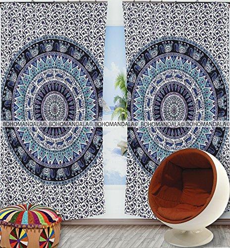 Bagru Printed Elephant Mandala Window Curtain Indian Drape Handmade Curtain Panel By Bohomandala (78 Curtain Panel)