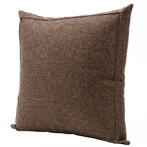 Burlap Linen Throw Pillow Case Cushion Cover Home Decorative Solid Square Pillowcase, Thick, Luxury, Handmade with Invisible Zipper for Sofa Couch Bed (24 x 24 Inches, Dark Brown)