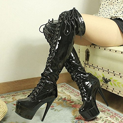 15 boots tie heels fashion high catwalk front shoes cm dress knee high Ur0UqX