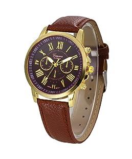 Auwer Watches, 2019 Black Geneva Fashion Women Diamond Analog Leather Quartz Wrist Watch Watches (Coffee)