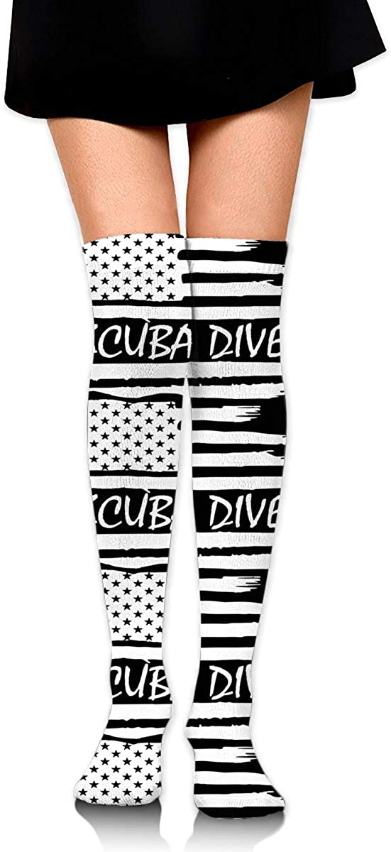 Scuba Dive American Flag Soccer Tube Sock Cotton Thigh High Compression Socks