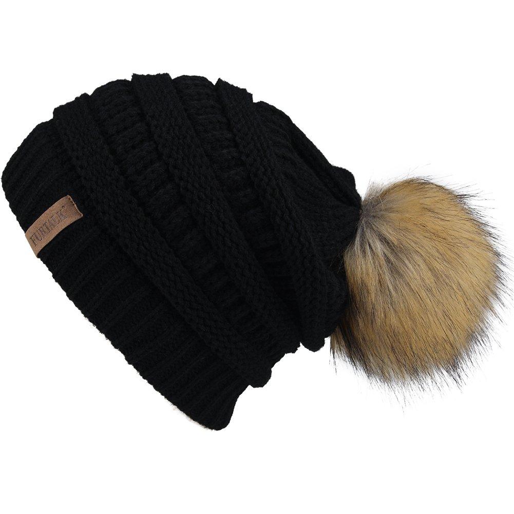 FURTALK Womens Winter Slouchy Knit Beanie Chunky Faux Fur Pom Poms Hat Bobble Hat Ski Cap