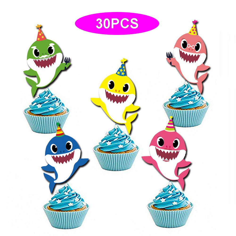 Baby Little Shark Cupcake Toppers 30PCS Cute Shark Cupcake Decorations for Baby Birthday Shark Theme Party