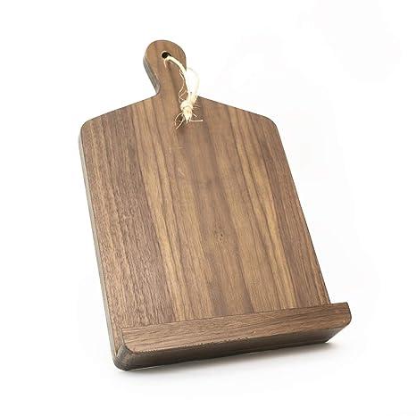 Wooden Cookbook Stand Recipe Holder Rustic Vintage Kitchen Decor (Walnut,  9W x 12H)