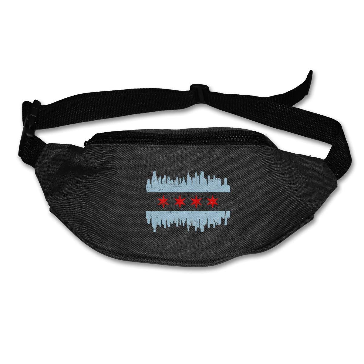 Chicago City Flag Sport Waist Bag Fanny Pack Adjustable For Travel