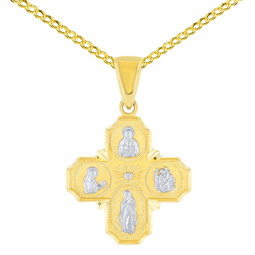 Solid 14K Yellow Gold Dainty Four Way Cross Charm with God Bless You Pendant Cuban Chain Necklace, 20''