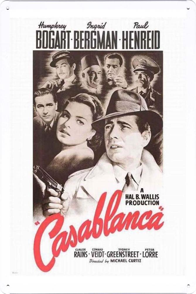 Casablanca Movie Poster Home Theater Decor Metal Tin Sign