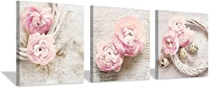 "Floral Picture Canvas Wall Art: Pink Peony Flower Wreath Photographic Prints for Decor (12""x12""x3pcs)"