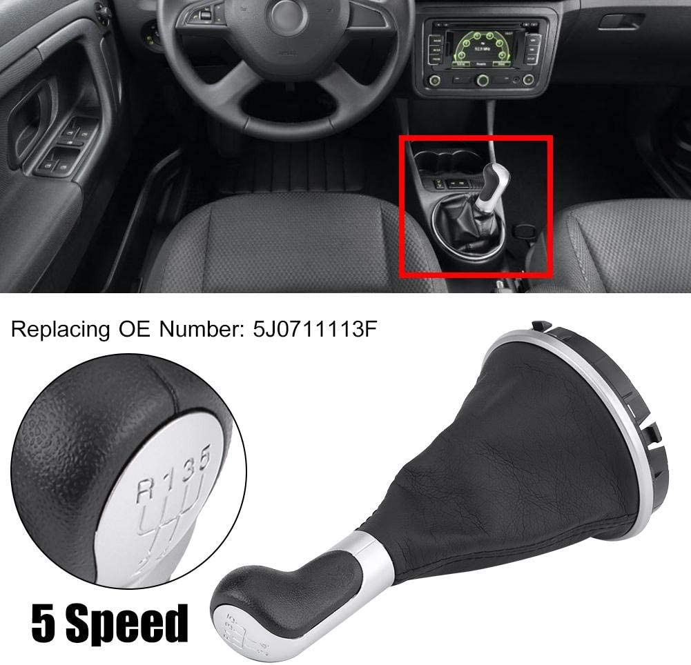KIMISS 5 Speed Gear Shift Knob Lever Gaiter Boot Cover for Skoda Fabia MK2 Roomster 5J0711113F