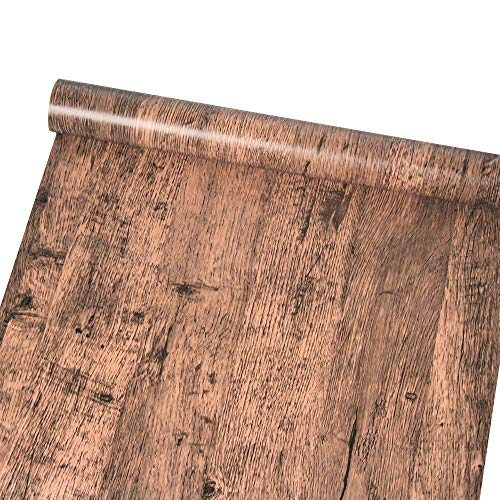 Yifely Brown Wood Grain Contact Paper Self Adhesive Shelf Liner Table Door Sticker 17.7 Inch by 9.8 Feet