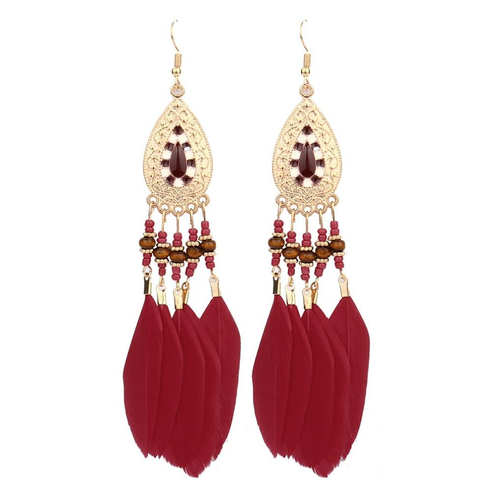 dd1d583708b98 Amazon.com: Feather Cluster Earring for Girl, New Drop Dangle ...