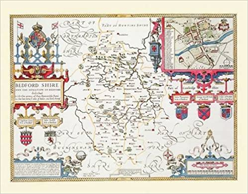 John Speeds Map of Bedfordshire 1611: Colour Print of County